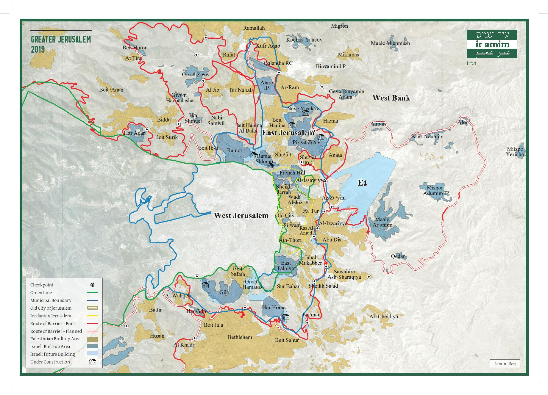 Image shows a map of Jerusalem with the Green Line, municipal boundaries, Israeli and Palestinian neighborhoods, and the Separation Barrier delineated.